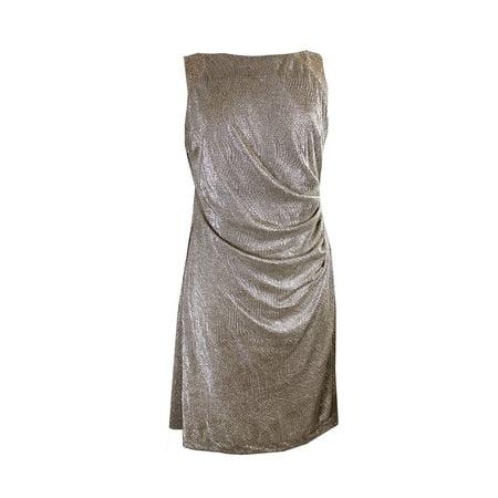 Lauren Ralph Gold Sleeveless Metallic Bead Trim Cowl Back Dress 14