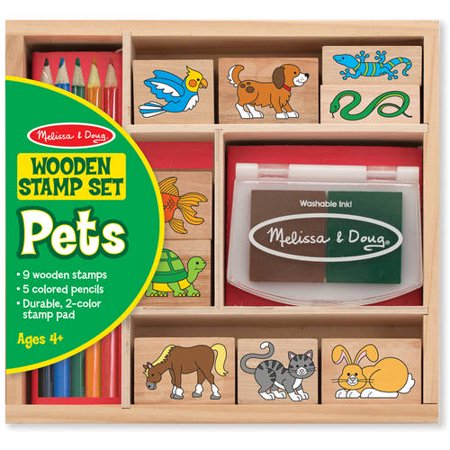 Melissa   Doug Wooden Stamp Set  Pets   9 Stamps  5 Colored Pencils  And 2 Color Stamp Pad