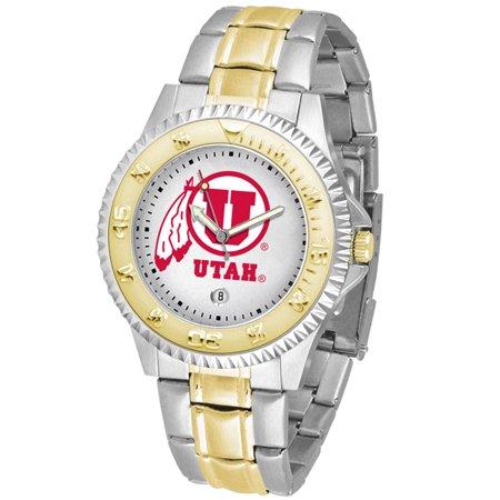 Utah Utes Competitor Steel Watch - Linkswalker Mens Utah Utes Competitor Two Tone Watch