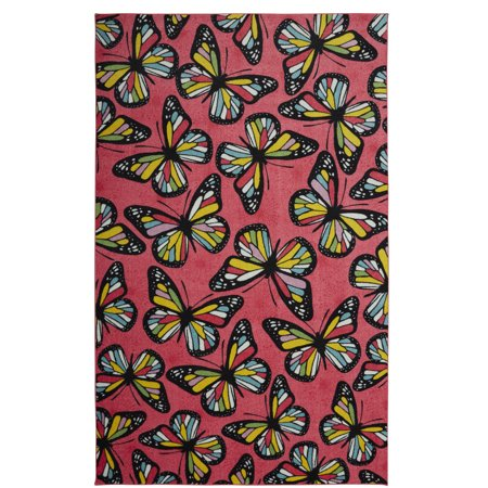 Mohawk Prismatic Area Rugs - Z0283 A419 Contemporary Pink / Yellow Wings Butterflies Bugs Colorful Rug - Punk Mohawk