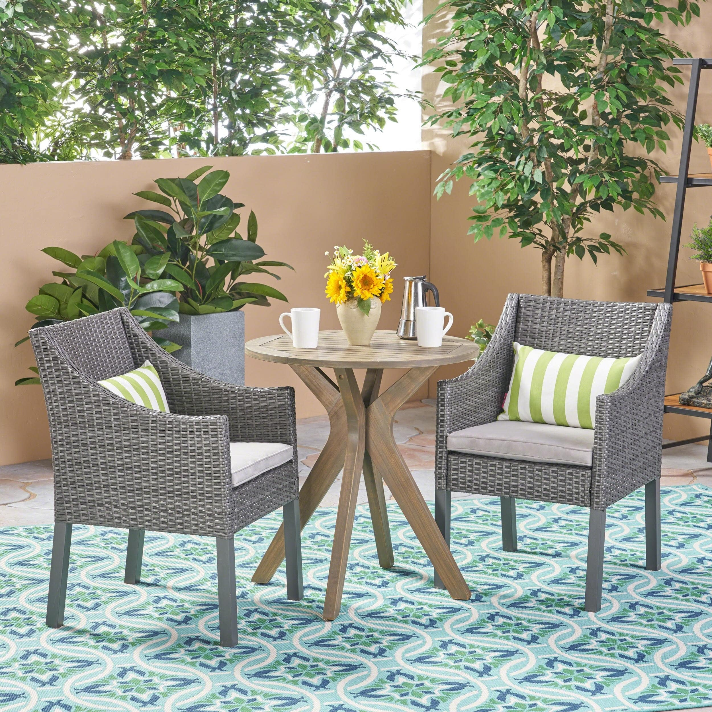 Christopher Knight Home Arrigo Outdoor 3 Piece Acacia Wood and Wicker Bistro Set by
