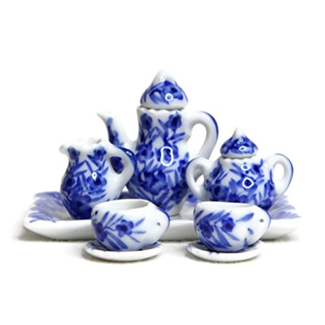 Dollhouse Miniature 14 Piece Ceramic Tea Set in Blue Floral Design