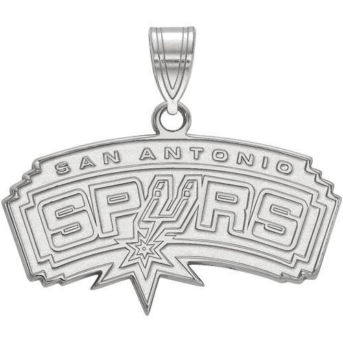 LogoArt NBA San Antonio Spurs 10kt White Gold Medium Pendant