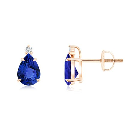 Classic Claw-Set Pear Tanzanite Solitaire Stud Earrings in 14K Rose Gold (7x5mm Tanzanite) - SE1064TD-RG-AAA-7x5