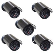 VideoSecu 5 Pack Dummy Fake Bullet Security Camera Infrared LEDs Flashing Blinking Light for Home CCTV Surveillance bfh