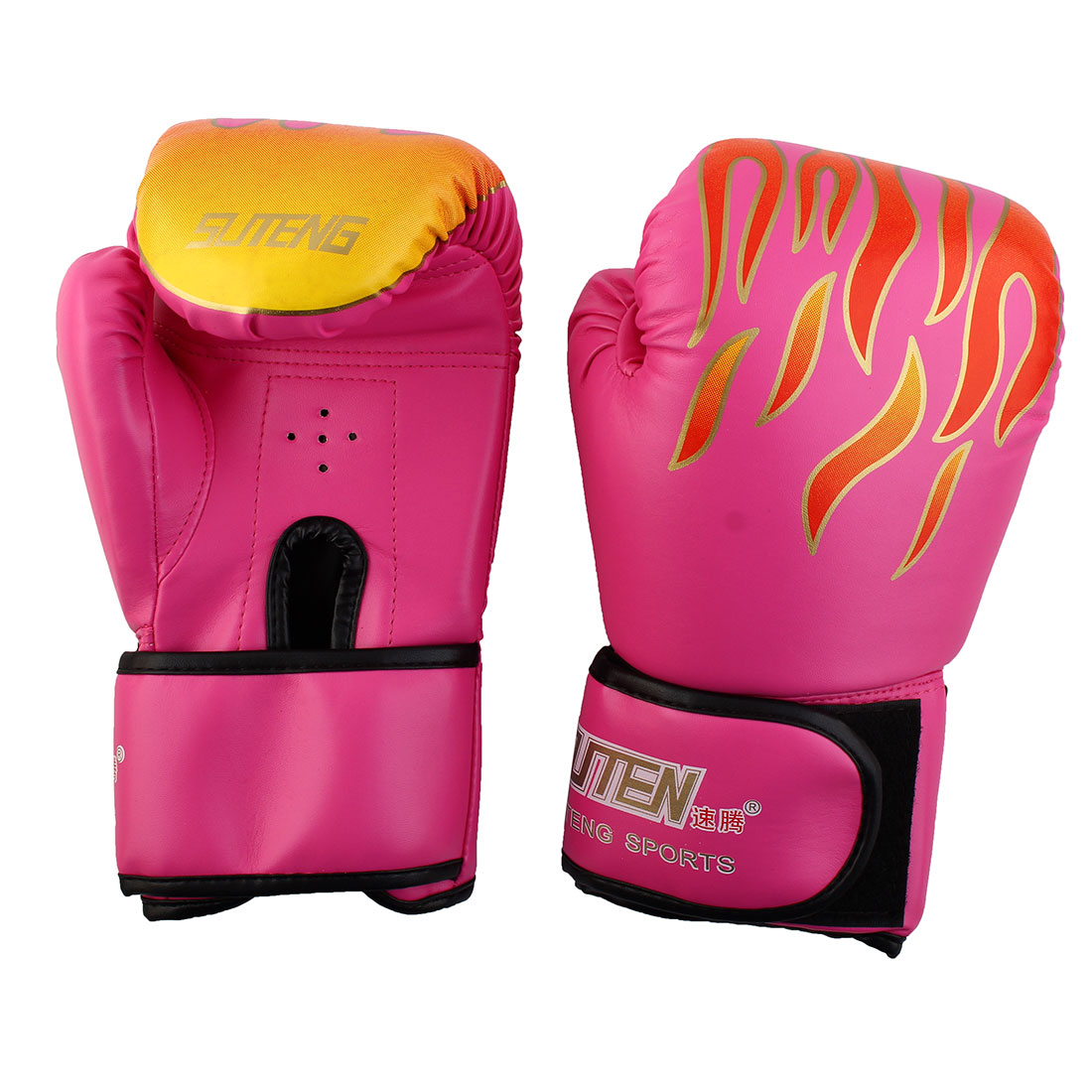 SUTENG Authorized Fire Print Boxing Gloves Sparring Punching Bag Fuchsia Pair