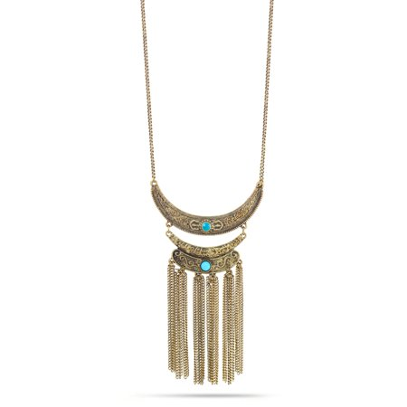 TAZZA WOMEN'S GOLD TURQUOISE TASSEL BOHO NECKLACES](Cheap Turquoise Jewelry)