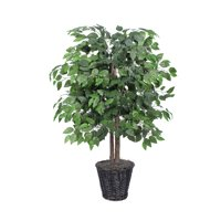 Vickerman 4' Artificial Ficus Bush in a Rattan Basket