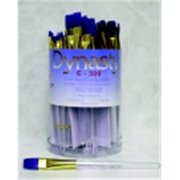 Dynasty C-300 Sapphire Flat Fine Synthetic Fiber Short Acrylic Handle Paint Brush Assortment, Clear, Pack - 72