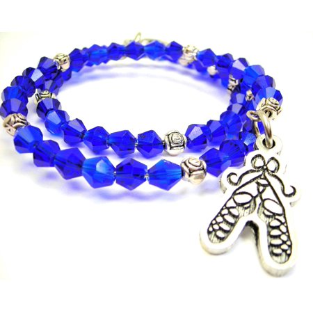 Chubby Chico Charms Ballet Shoes Tied In A Bow Bicone Crystal Wrap Bracelet in Sapphire (Ballet Shoe Charm)