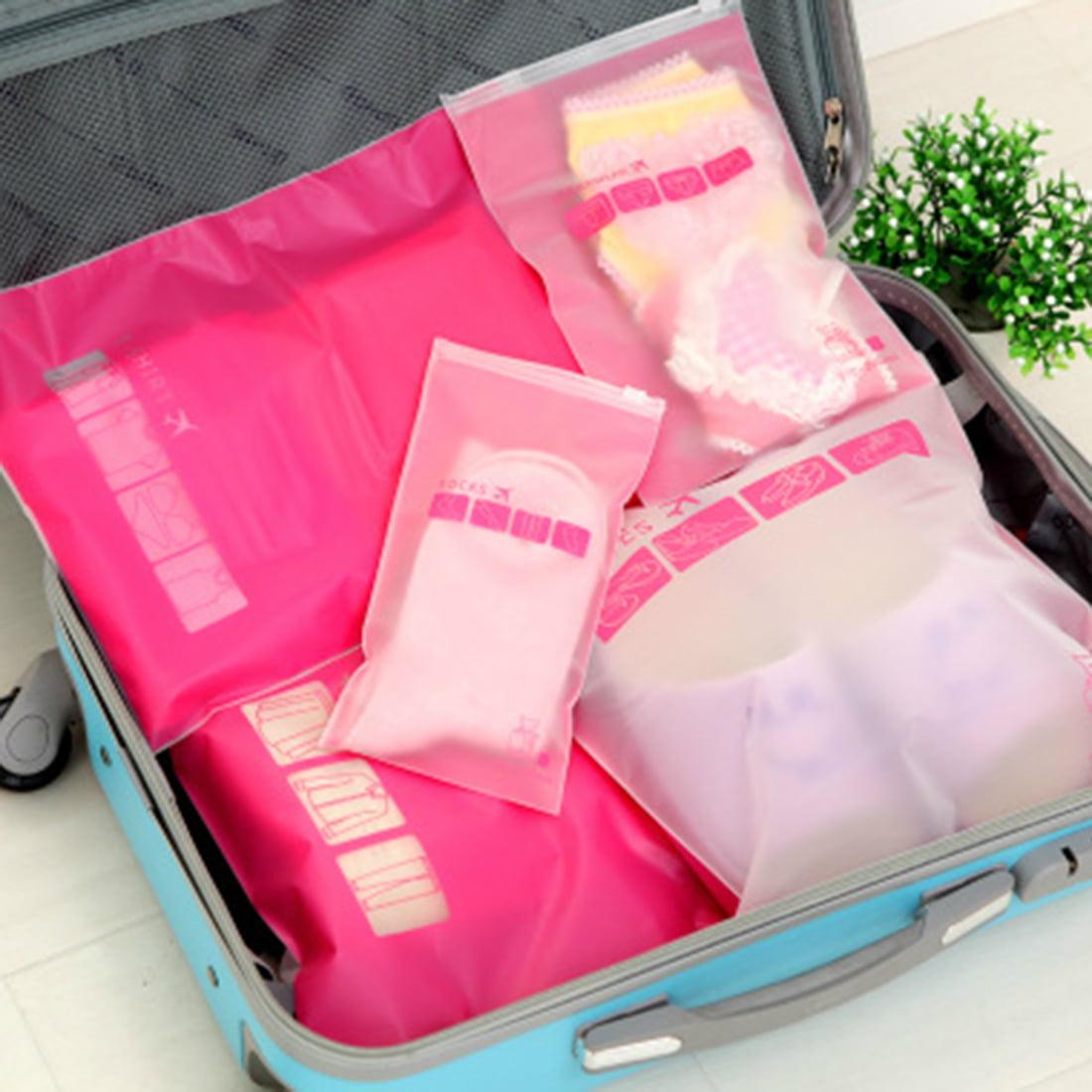 Plastic Water Resistant Travel Clothes Underwear Storage Bag 28x40cm Fuchsia - image 5 de 8