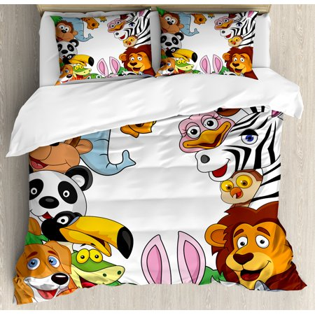 Nursery Queen Size Duvet Cover Set, Wild Jungle Animals Tropical Fauna Family Collection Happy Faces in Cartoon Style, Decorative 3 Piece Bedding Set with 2 Pillow Shams, Multicolor, by Ambesonne