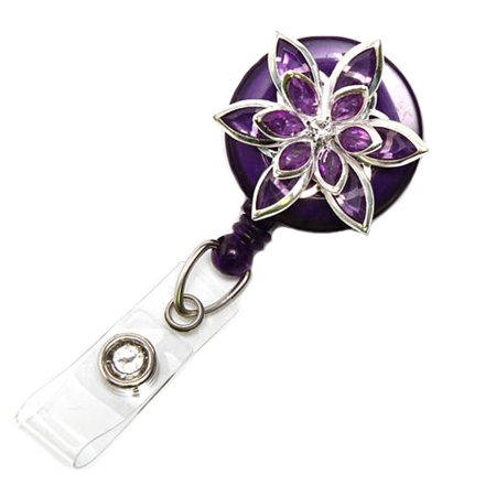 Badge Blooms ID Badge Reel - Bling - Purple Star (Blooming Star)