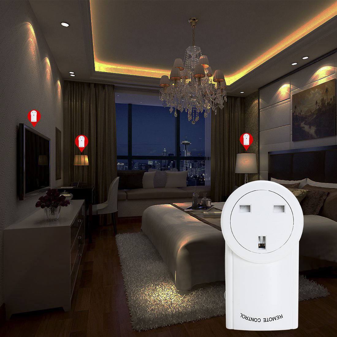 5Pcs AC230V 10A UK Plug Wireless Remote Control UK Socket Outlet w 1 Transmitter - image 5 de 7