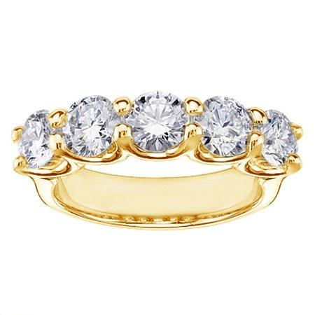 1.55 CT Brilliant Cut Diamond Wedding Band in Yellow Gold U-Prong Setting