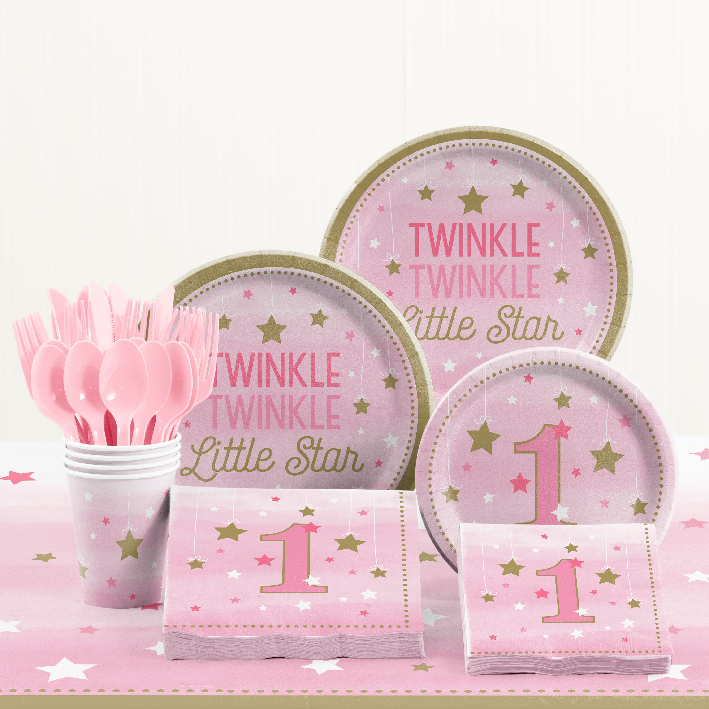 One Little Star Girl 1st Birthday Party Supplies Kit