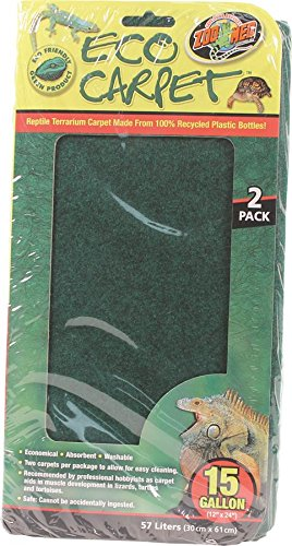 Reptile Cage Carpet for 15-Inch Long and 20-Inch High Tanks, 24 x 12-Inches, Two pieces per pack By Zoo Med by