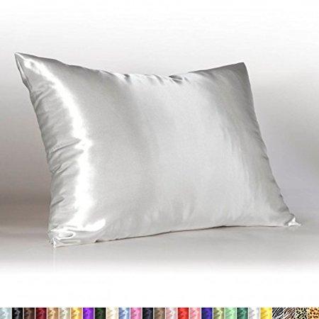 Shop Bedding Luxury Satin Pillowcase for Hair – Standard Satin Pillowcase with Zipper, White (1 per pack) – Blissford - image 1 of 1