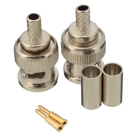 10 Sets 3-Piece BNC Plug Crimp Connectors for RG58 RG-58 Coax Male Antenna Cable - image 1 of 6
