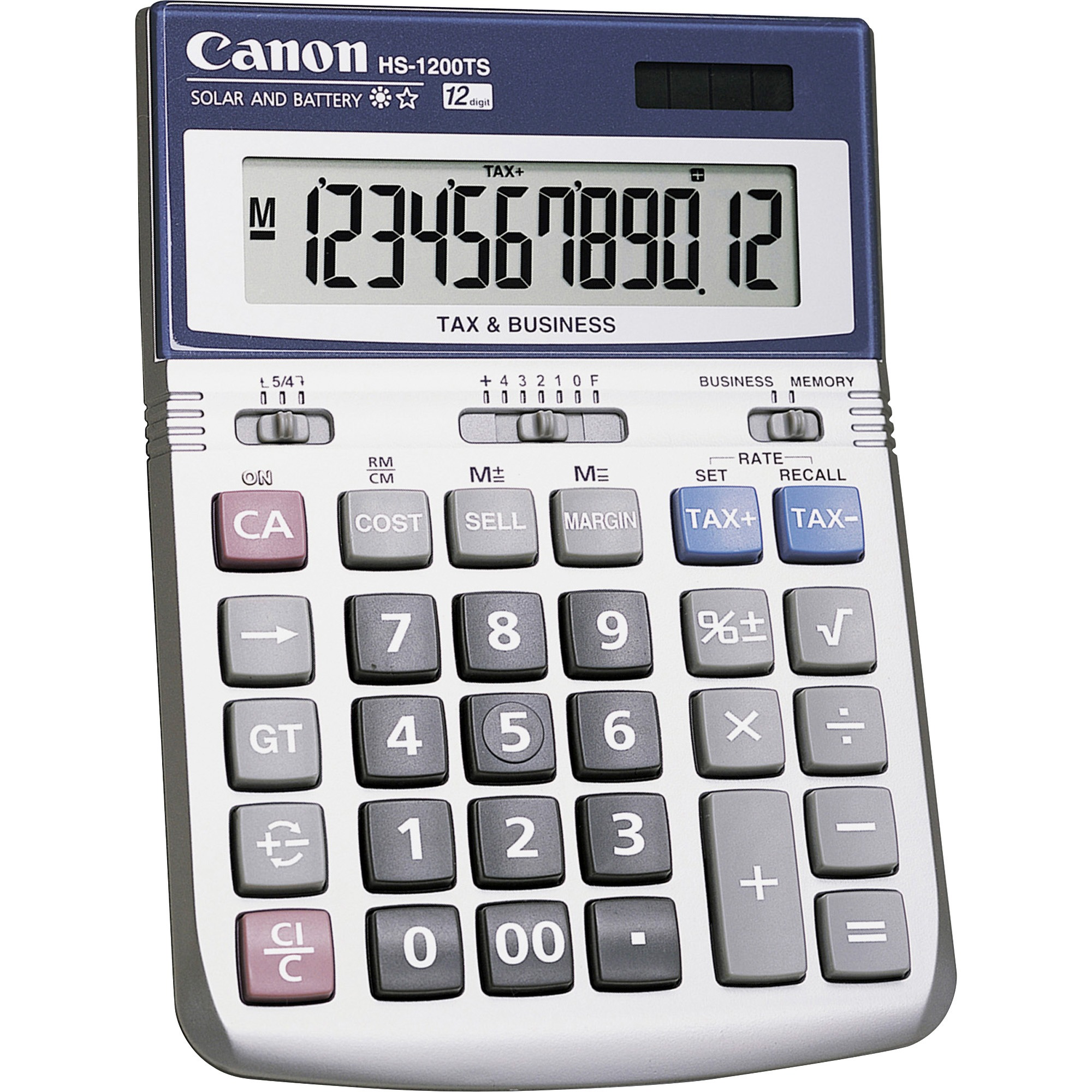Canon HS-1200TS 12-Digit Angled Display Calculator, Black, White, 1 Each (Quantity)