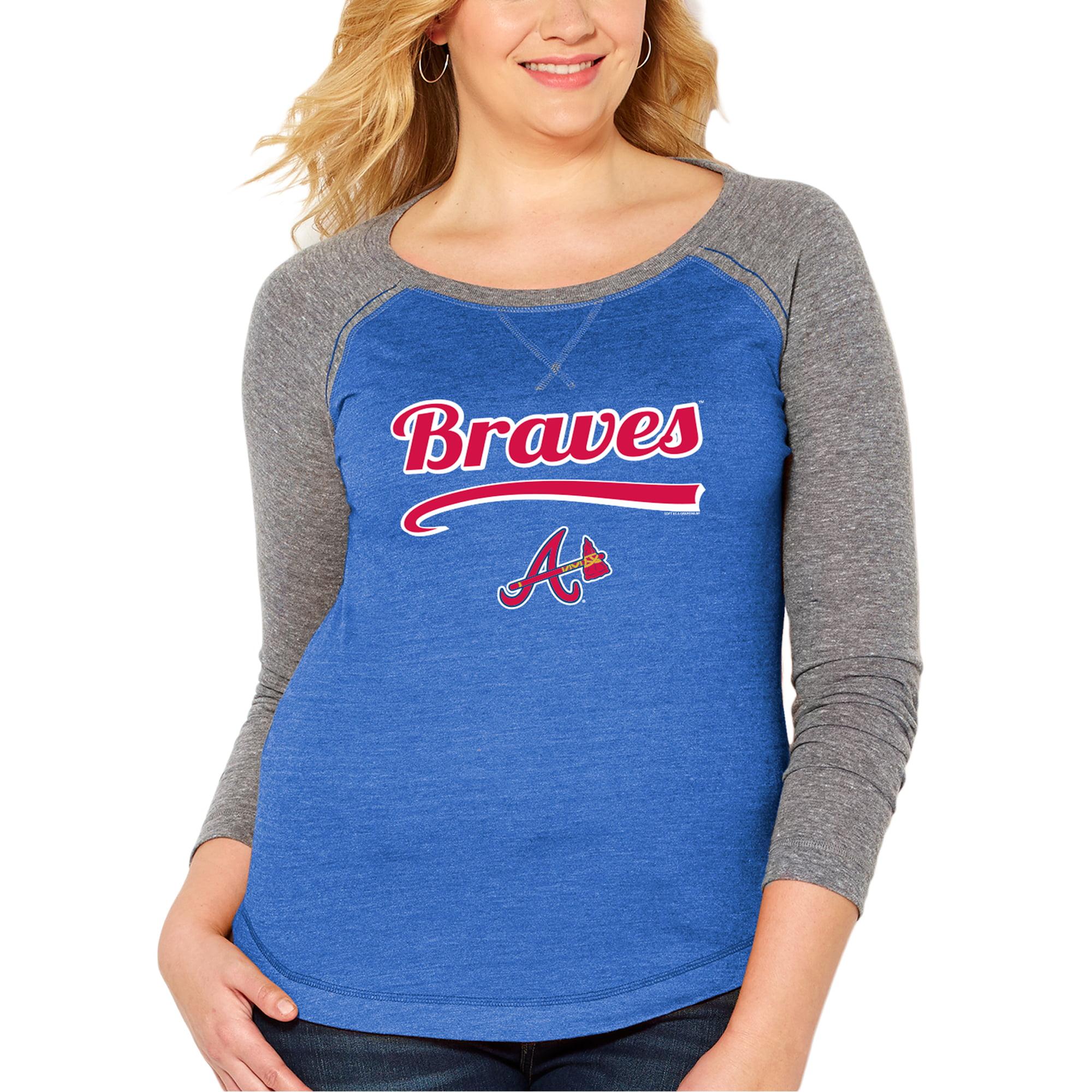 Atlanta Braves Soft as a Grape Women's Plus Size Long Sleeve Raglan T-Shirt - Heather Royal