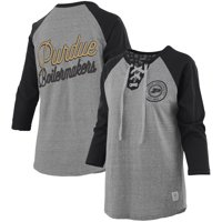 Purdue Boilermakers Pressbox Women's Two-Hit Lace-Up Raglan Long Sleeve T-Shirt - Heathered Gray/Black
