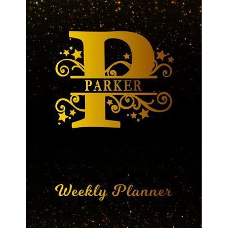 Parker Weekly Planner : 2 Year Personalized Letter P Appointment Book - January 2019 - December 2020 - Black Gold Cover Writing Notebook & Diary - Datebook Calendar Schedule -