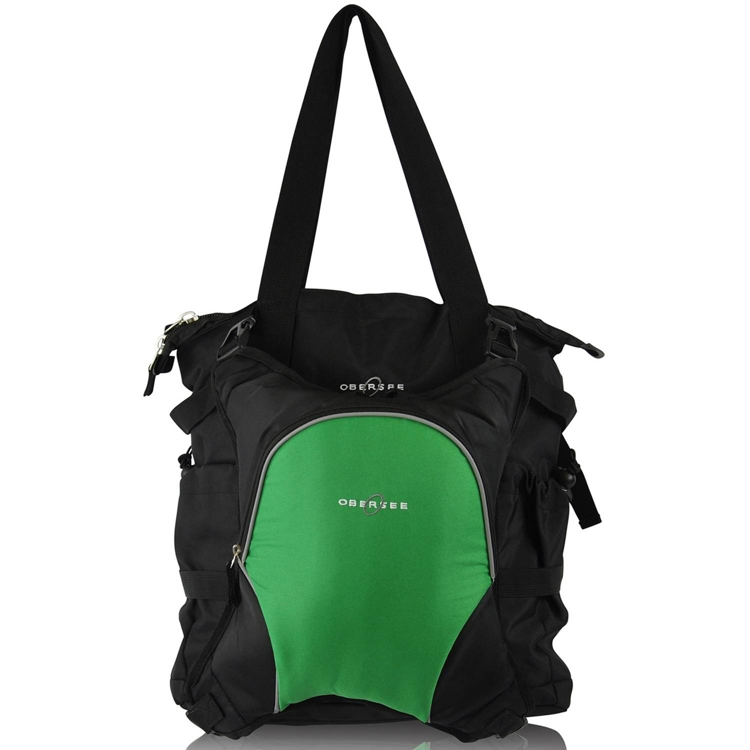 Obersee Innsbruck Diaper Bag Tote with Cooler, Black/Green