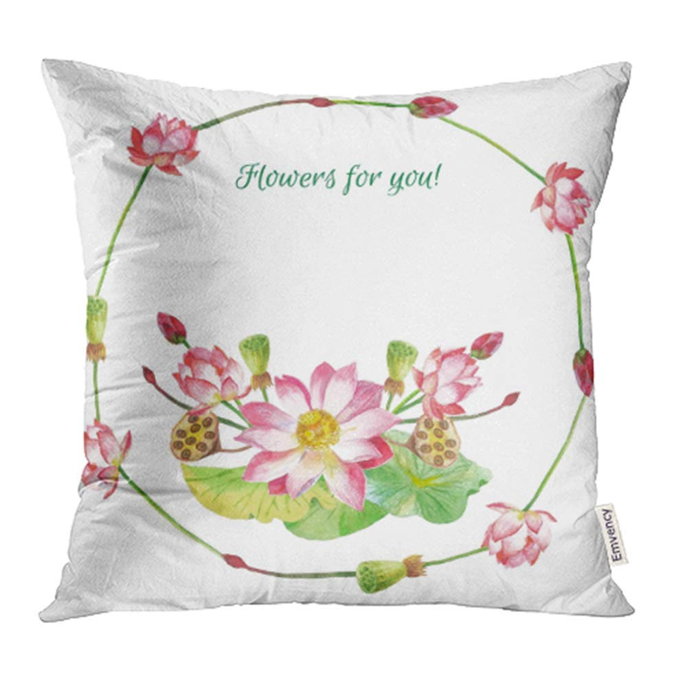 USART Green Beauty Lotus Flowers Hand Watercolor Pink Blooming Blossom Botanical Pillowcase Cushion Cases 18x18 inch