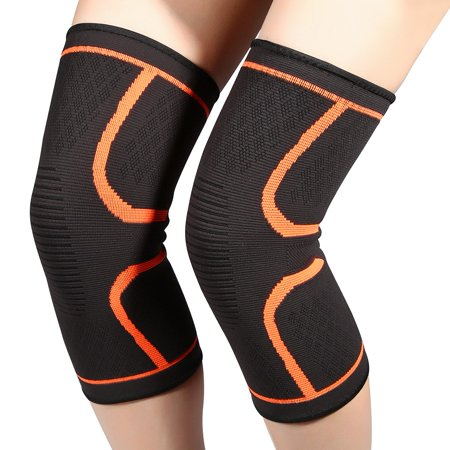 WALFRONT 2Pcs Stretchy Thermal Breathable Anti-slip Knee Support, Knee Brace Leg Warmers Sleeves Protector for Men for Outdoor Sports Ski Running Cycling Arthritis Tendonitis - Lycra Cycling Knee Warmer