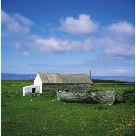 Posterazzi DPI1802042LARGE Tory Island Co Donegal Ireland Cottage & Boat Poster Print by The Irish Image Collection, 24 x 24 - Large ()