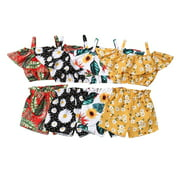 Newest Fashion Summer Toddler Baby Girl Clothes Off Shoulder Ruffle Sling Crop Tops Short Pants 2Pcs Outfits Clothes
