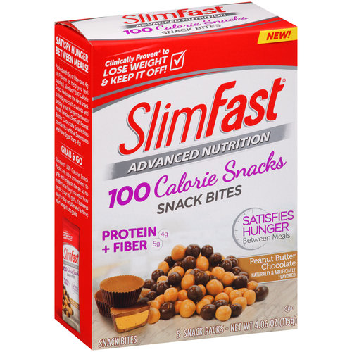 SlimFast 100 Calorie Snacks Peanut Butter Chocolate Snack Bites, 5 count, 4.06 oz