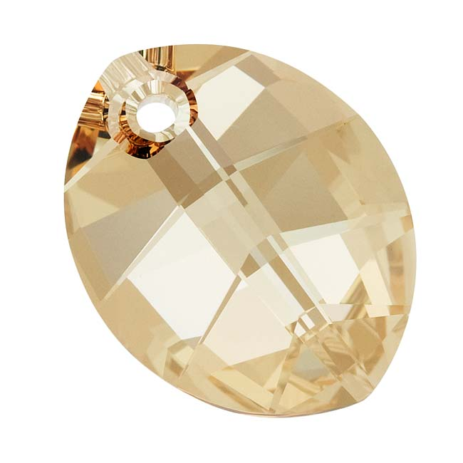 Swarovski Crystal, #6734 Pure Leaf Pendant 23mm, 1 Piece, Crystal Golden Shadow
