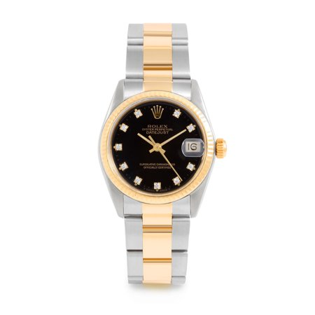 Pre Owned Rolex Datejust 6827 w/ Black Diamond Dial 31mm Women's Watch (Certified & Warranty Included)