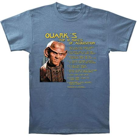 Star Trek Men's  Quark's Rules T-shirt Blue (Star Trek Blue Shirts)