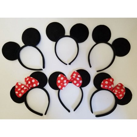 LWS LA Wholesale Store  10 BLACK S & RED Polka Bow MICKEY Minnie MOUSE EAR HEADBANDS Birthday FAVOR & 1 Free miniature figures