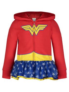 5034aff77d Wonder Woman Toddler Girls  Full-Zip Lightweight Costume Hoodie Ruffles (