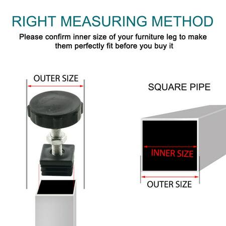 M8 Leveling Feet 25 x 25mm Square Tube Inserts Kit Furniture Glide Adjustable Leveler for Table Desk Leg 10 Sets - image 4 de 7