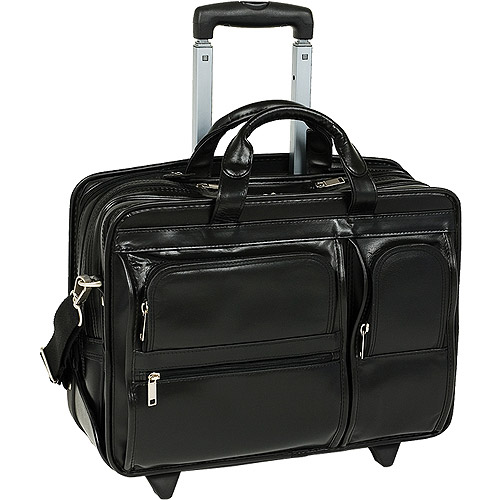 """Mcklein 17"""" Clinton Leather 2-in-1 Removable-Wheeled Laptop Case 88445 - Black"""
