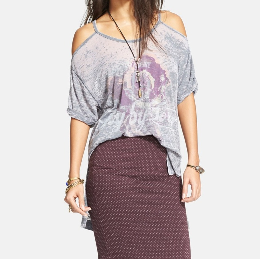 Free People NEW Gray Women's Size Medium M Graphic Print Axel Knit Top $68