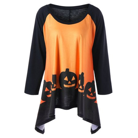 AKFashion Women's Plus Size Long Sleeve Round Neck Irregular Halloween Printing Blouse Shirts Tops