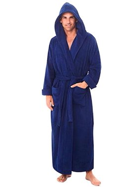 0e157bdf0a Product Image Heavy Mens 3.5lb Royal Blue Hooded Terry Cloth Bathrobe. XXL  Full Length 100%