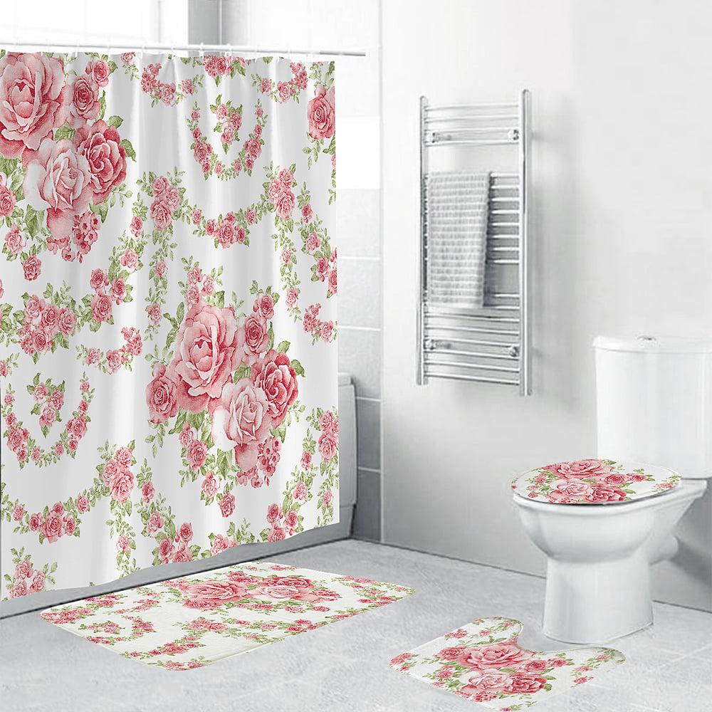 4pcs Bath Curtain Mat Shower Toilet Rug Lid Cover