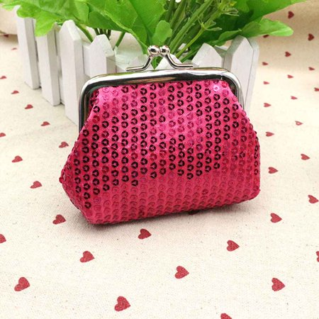 Womens Small Sequin Wallet Card Holder Coin Purse Clutch Handbag for Festival - Small Purse Wallet