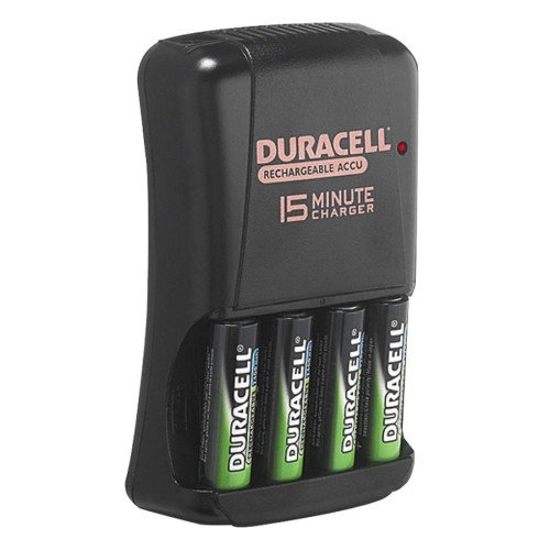 Duracell Battery Charger, For AA/AAA Batteries, 15 min Charge, Black