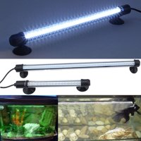 Qiilu Led Aquarium Light Aquarium Fish Tank 57 Led Bar Submersible Waterproof Light Lamp Strip Fish Tank Lamps Fish White Night Light 19Inches