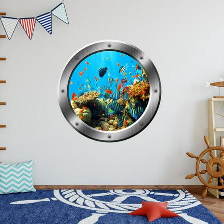 VWAQ Coral Reef Wall Decal Porthole Ocean School Of Fish Wall Sticker Home Decor VWAQ-SP19 (20