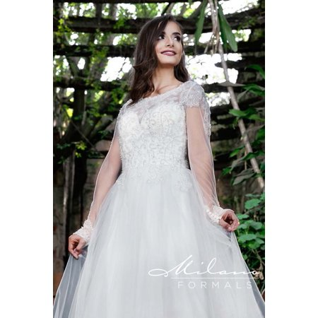 Long Sleeved Wedding Dresses.Magical Lacey Long Sleeved Wedding Dress From Milano Formals Aa9332
