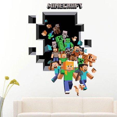 Large 3D Minecraft Wall Sticker Creeper Vinyl Nursery Decal Room Decor Mural Art ()